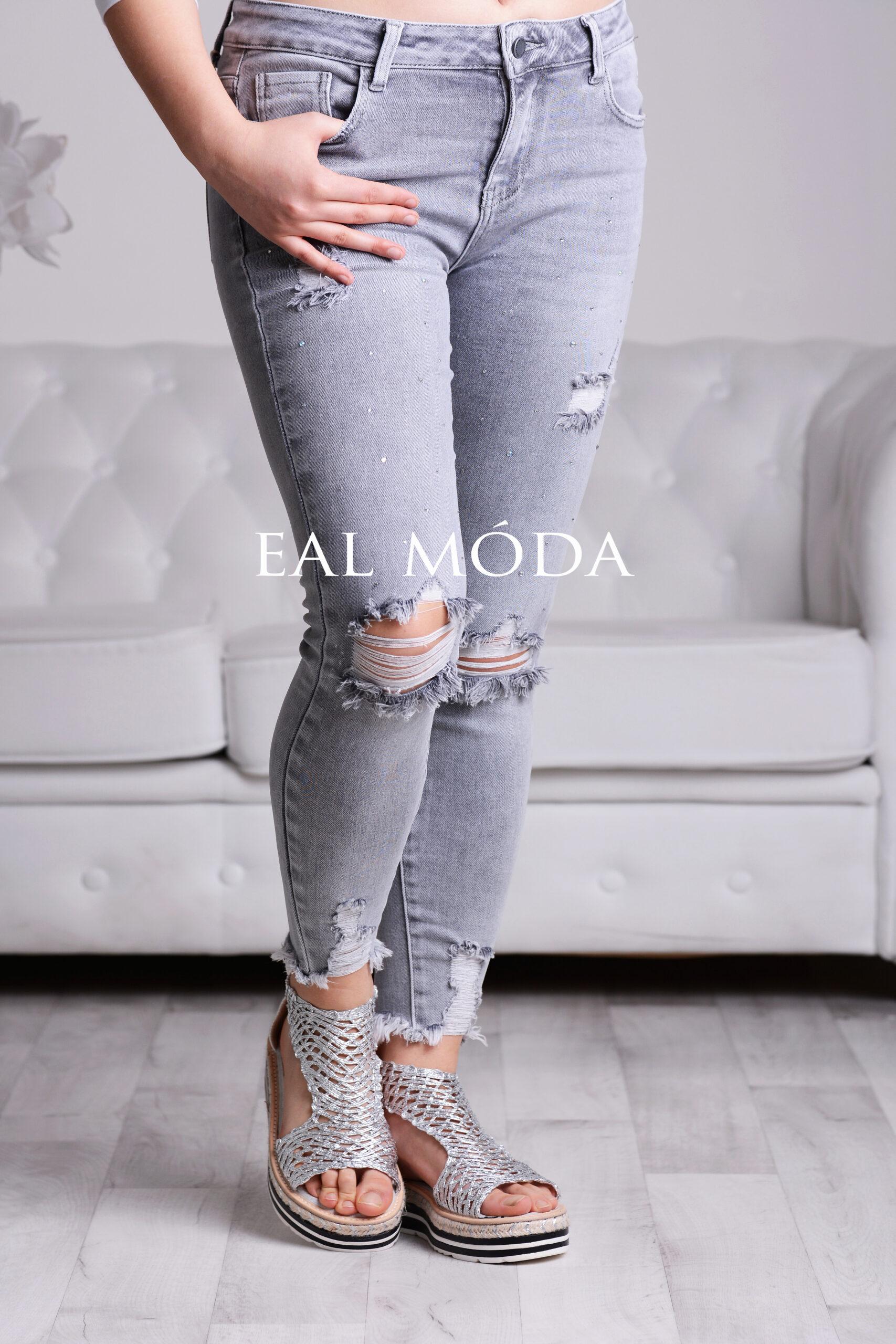 Šedé jeans s kamínky