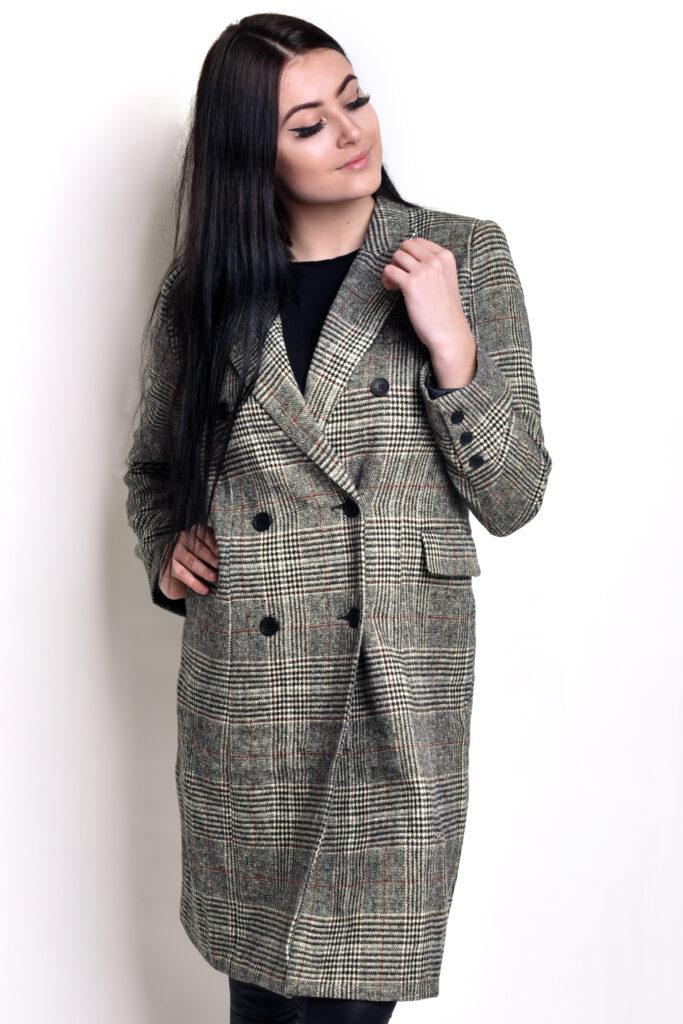 Dámský károvaný kabát