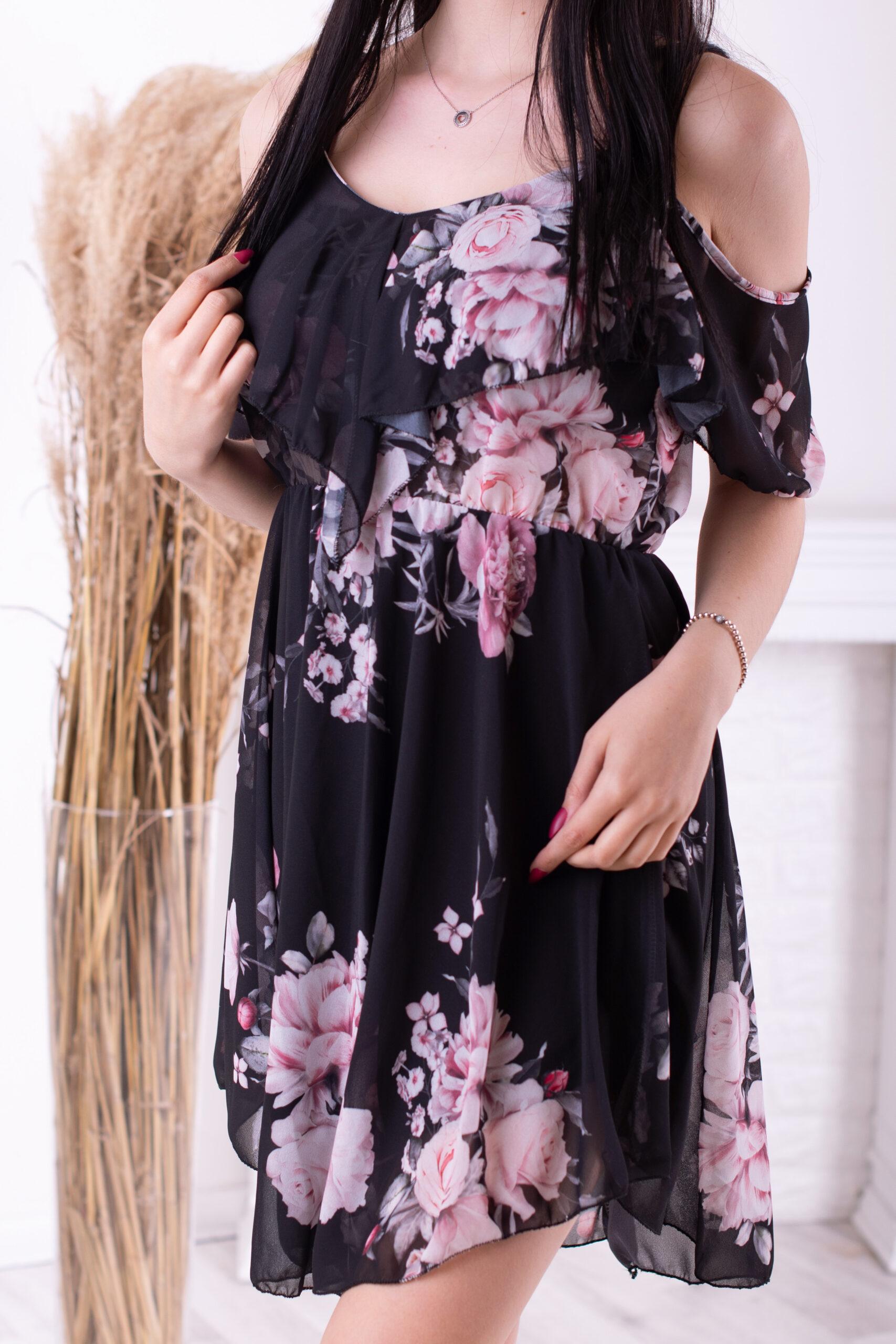 Krátké šaty FLOWERS - černá